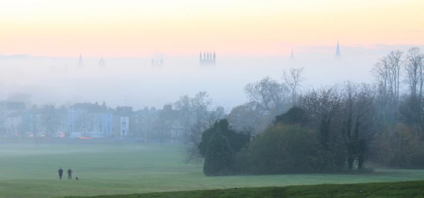 Spires in the mist, viewed from South Park